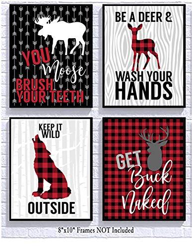 Buffalo Plaid Red Check Woodland Wild Themed Bathroom Art Print Decor (Set of Four)