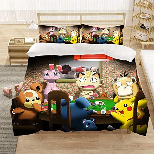 Goplnma Parure de lit Pokémon 3D pour enfant - En polycoton, multicolore. Housse de couette douce et confortable pour toutes les saisons (135 × 200 cm, 9).