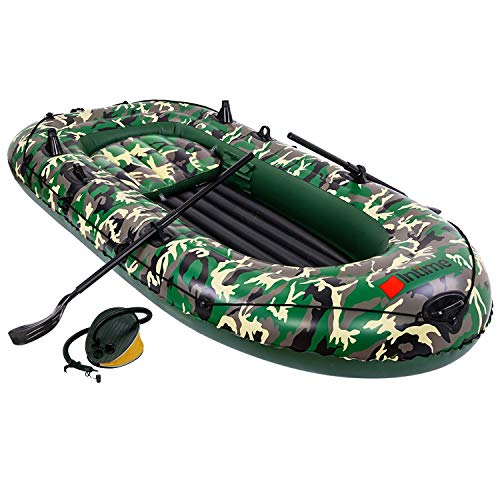 SOARRUCY Inflatable Boat Canoe Kayak - 3 Person Raft Kayak Portable Fishing Boat Inflatable Kayak for Adults and Kids Blow Up Sport Kayak Canoe Boat with Air Pump Pair of Oars and Rope