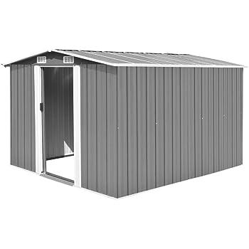 UnfadeMemory Caseta de Almacenamiento de Metal de Jardín,Cobertizo Exterior para Almacenar Herramientas (Gris, 257x298x178cm): Amazon.es: Hogar