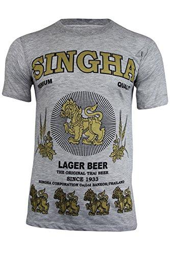 Original rara para hombre Singha Tailandia Lager cerveza camiseta de manga corta de algodón (fabricado en Tailandia | Reino Unido stock), Light Grey Marl, XL