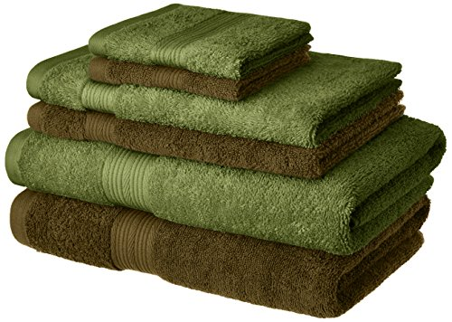 Amazon Brand - Solimo 100% Cotton 6 Piece Towel Set, 500 GSM (Sepia Brown and Olive Green)