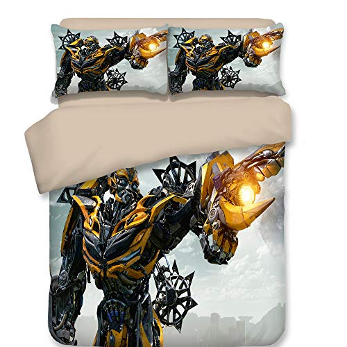 NOOS 3D Marvel Transformers Duvet Cover Set for Boys Optimus Prime and Bumblebee Bedding Set Queen Size, 100% Microfiber Kids and Teens Bed Set 3pcs(1Duvet Cover, 2Pillowcase) No Comforter Inside