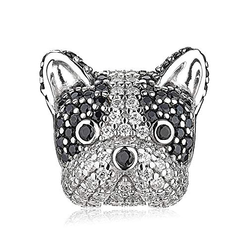 ATHENAIE 925 Sterling Silver Mixed CZ Cute French Bulldog Puppy Dog Charms Animal Bead for Bracelet