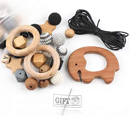 Biter teether Natural Wooden Teether DIY Set Coated With Olive Oil BPA Free Loose Silicone Crochet product image
