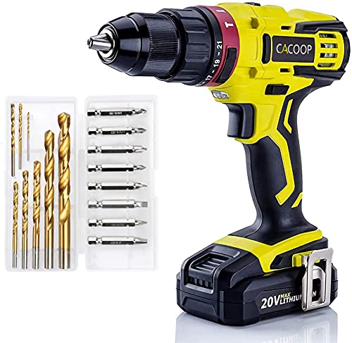 CACOOP 20V 1/2'' Cordless Hammer Drill w/ 2.0Ah Battery,1H Fast Charger,2-Variable Speed, Professional HSS Bits,Keyless Metal Chuck