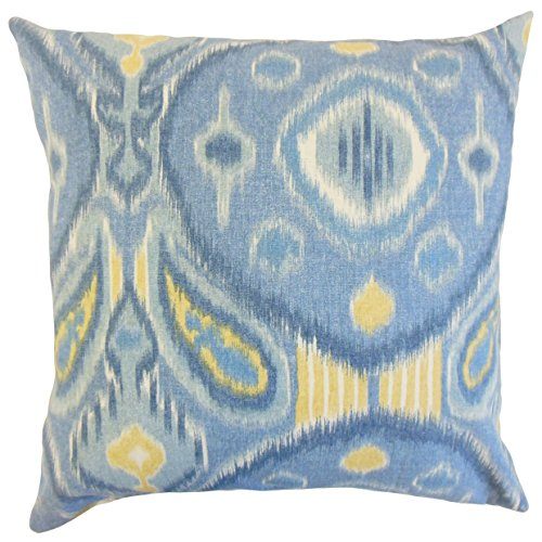 Lowest Prices! The Pillow Collection Janvier Ikat Bedding Sham Ocean, Euro/26 x 26