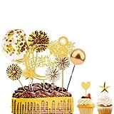 FORMIZON Oro Decoración para Tartas de Cumpleaños, Globos de Confeti Topper, Feliz cumpleaños Oro Cake Topper Abanicos de Papel Tartas de Decoración
