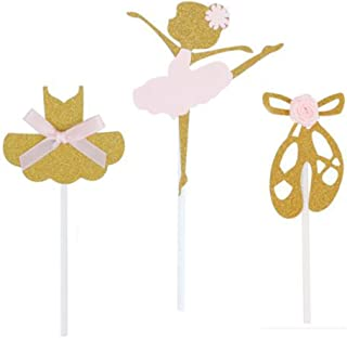 24 Pack of Glitter Gold Ballerina Ballet Slippers Tutu Dress Girls Skirt Cupcake Toppers with Pink Knot Bow or Flower for ...