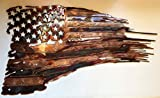Tattered & Torn American Flag Metal Wall Art Copper/Bronze Pltd