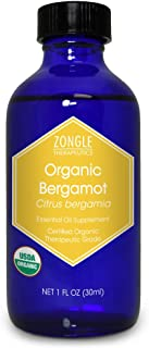 Zongle USDA Certified Organic Bergamot Essential Oil, Safe To Ingest, Citrus Bergamia, 1 OZ