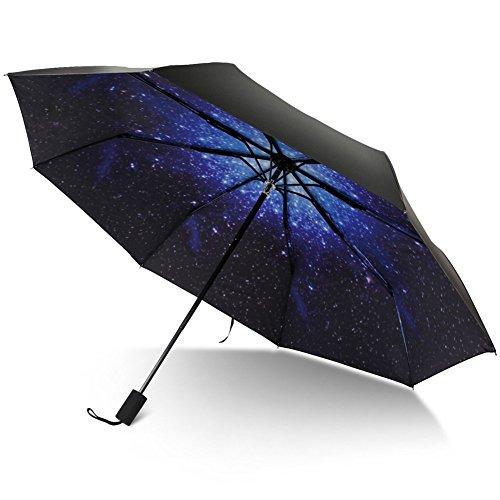 TRADE® 8 Rib Travel Umbrella 3 Schicht Faltbare wasserdichte Galaxy Pattern Regenschirme mit komfortablen Griff