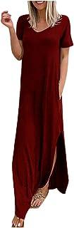 Women Short Sleeve Party Dress, Ladies Summer Solid V-Neck Casual Pockets Long Dress