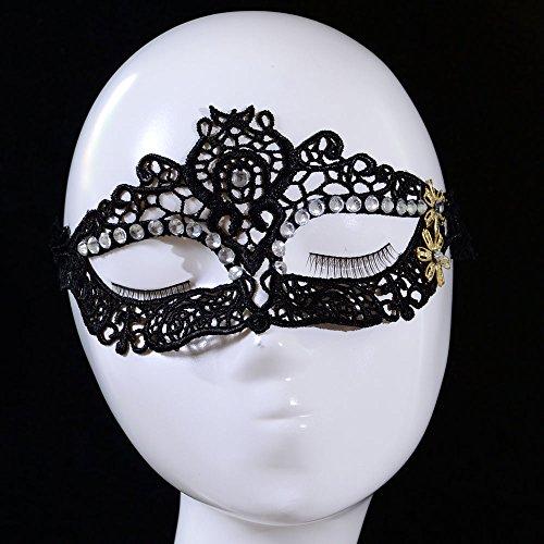 JapanAttitude Masque de bal vénitien noir en dentelle avec strass et fleurs dorées