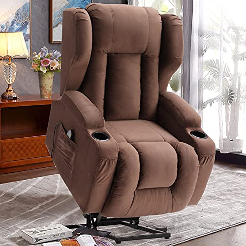 OQQOEE Electric Power Lift Recliner Chair Wingback Lift Chair Recliner for Elderly with Massage and Heat Vibration,3 Positions, 2 Side Pockets and Cup Holders, Handle Remote (Brown Velvet)