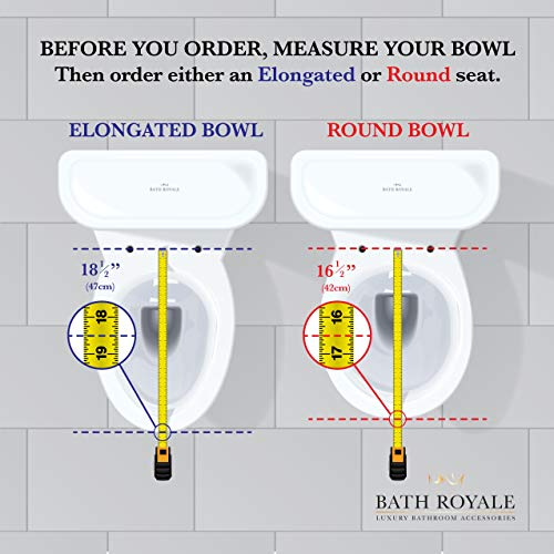 BATH ROYALE BR606-00 Premium Elongated Toilet Seat with Cover, White – Soft Close, Easy Clean, Replacement Toilet Seat Fits All Toilet Brands including Kohler, Toto and American Standard (Oval Size)