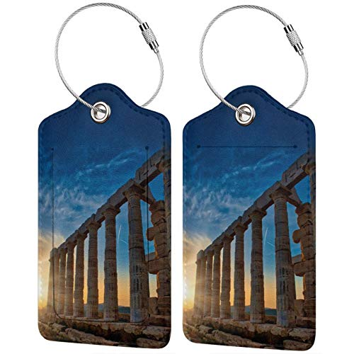 RISETRIAL Temple of Poseidon at Sunset Travel Tags Cute Luggage Tags Suitcase Label ID Business Card Holder 2 PCS