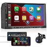 CAMECHO Autoradio 2 Din Compatibile con Apple Carplay/Android Auto, 7 pollici Touch Screen Lettore MP5 Multimediale Universale per Auto con Telecamera Posteriore AHD/Mirror Link /Bluetooth/FM / USB/SD