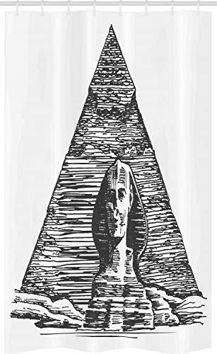 ABAKUHAUS Egyptische Douchegordijn, Sphinx Piramide Sketch, voor Douchecabine Stoffen Badkamer Decoratie Set met Ophangringen, 120 x 180 cm, Charcoal Grey White