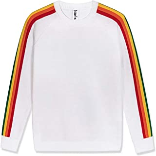 Kid Nation Kids' Sweater Pullover Crew Neck Long Sleeve with Rainbow Stripe for Boys or Girls Cotton Casual Knit Sweater