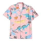 Camisa de manga corta para hombre, estilo hawaiano, para hombre, con estampado de dinosaurios, con estampado de animales, con solapas, para tiempo libre, con botones rojo M