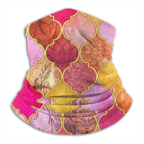 Warm Roze, Goud, Tangerine & Taupe Decoratieve Marokkaanse tegel Patroon Gooi Kussen Microvezel Nek Warmer Vissen Ski Beschermende Nek Sjaal