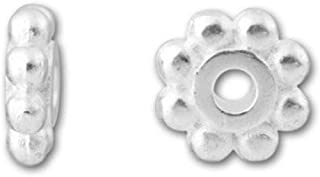 1000pcs Top Quality 4.5mm Loose Daisy Flower Rondelle Spacer Beads Sterling Silver Plated Brass Metal for Jewelry Craft Making CF110-S