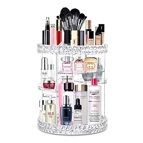 Kuasooo Makeup Organizer Cosmetics 360-Degree Rotating Adjustable Multi-Function Acrylic Cosmetic Storage, Transparent