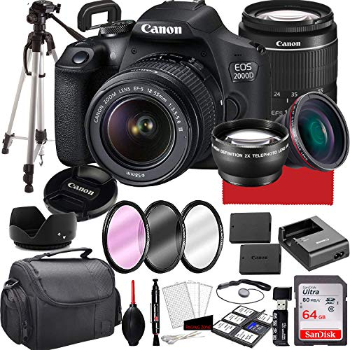 Canon EOS 2000D (Rebel T7) DSLR Camera with 18-55mm...