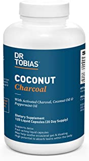 Dr. Tobias Coconut Charcoal Supplement - Activated Charcoal, Coconut and Peppermit, 120 Liquid Capsules