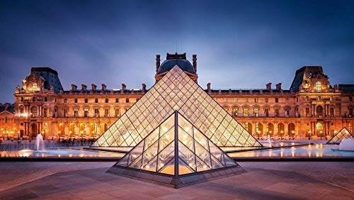OKOUNOKO 300 Piezas Puzzles 3D, Museo del Louvre De París, Arquitectura Moderna, Clásica, Personalizado De Madera Montaje Rompecabezas Divertido, 38X26Cm