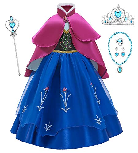 O.AMBW Anna Frozen Vestido de Princesa con Capa para Nias Disfraces y Accesorios Cosplay Princesa Disfraz de Fiesta Halloween Carnaval Regalo Cumpleaos Navidad