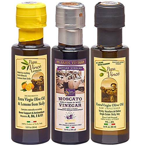 Papa Vince Infused Olive Oil Dipping Set: Lemon & Classic Extra Virgin Harvest 12/2019, Balsamic Vinegar 8 yr aged, No Sugar Added, No Pesticides, No Roundup from our family, Sicily, Italy, 3 fl oz ea