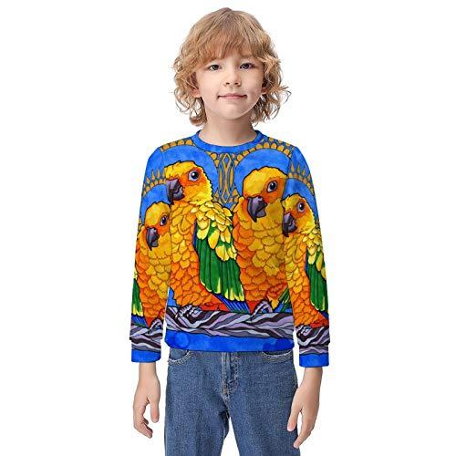 NiYoung Hip-Hop Pullover Hooded Sweatshirts for Boys Girls Teens Junior, Long Sleeves Loquacious Birds Blue Hoodie Fitted 3D Pattern Print Tops