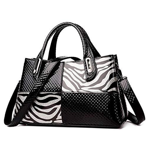 Yan Show Vrouwen Zebra Patroon Gespliceerde Top Handvat portemonnee Tote Patent Lederen Handtas Grote Capaciteit Chic Crossbody Tas
