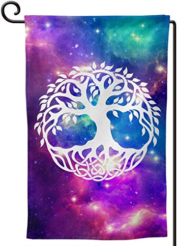 PENGGE Galaxy Space Star Celtic Tree of Life Garden Flag Vertical Double Sided 12.5 x 18 Inches House Yard Outdoor Decoration Flags