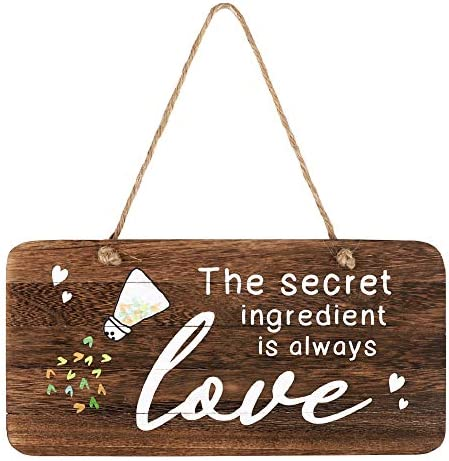 whoaon The Secret Ingredient is Always Love Sign Real Pallet Wood Sign for Rustic Kitchen Decor product image
