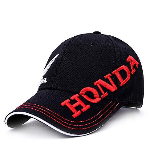 VIIMON 2019 Nuevo Negro Blanco Honda Motocicleta Bordado Gorra de béisbol Sombrero Hombres Ajustable Snapback Gorras Sombreros Ocasionales del Sol Sombreros del Camionero (Color : Black)