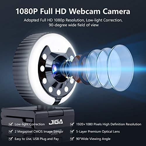 1080P Webcam mit Mikrofon, Full HD Facecam Streaming Webcams, USB Kamera mit Ringlicht, Stativ, 360° Schwenken, JIGA Web Camera für PC, Videochat, Laptop, Zoom, Skype (Weiß, Warmes, Natürliches Licht)