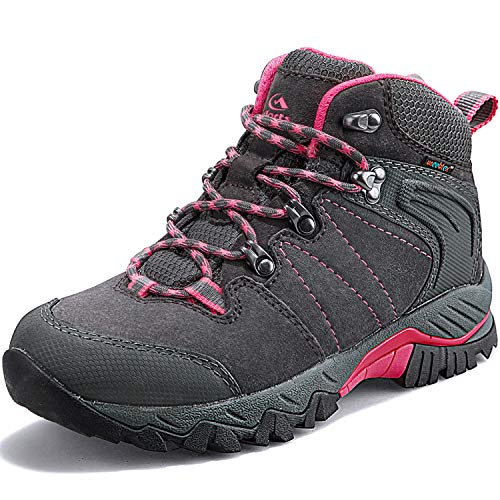 Clorts Women's Classic Hiking Boots Waterproof Suede Leather Lightweight Hiking Shoes Grey/Pink US Women Size 9 Medium Width