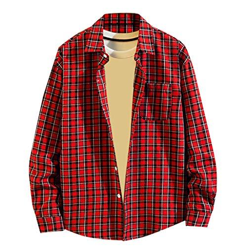 Chemise FNKDOR pour des Hommes Décontractée Mode T-Shirts Impression à Carreaux en Vrac Sweat à Capuche Amovible Manche Longue Haut de Chemise Top Blouse(A Rouge,L)