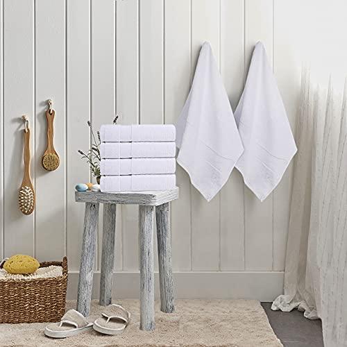 Premium 100% Cotton White Bath Towel Set (6 Pack, 56 x 112 Centimetres) - Lightweight, High Absorbency