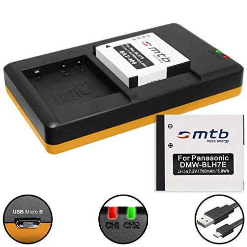 2 Akkus + Dual-Ladegerät (USB) für DMW-BLH7(E) / Panasonic Lumix DMC-GF7 / DMC-GM1, GM5 / DMC-LX15 / DC-GX800 - inkl. Micro-USB-Kabel (2 Akkus gleichzeitig ladbar)