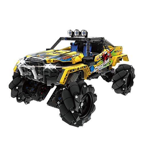 TopBau Technik Offroader 4x4 Stunt Racer, 1030 Teile Stuntauto mit Motor, Fernbedienung und Beleuchtung, Custom Bausteine Auto QIHUI 9802