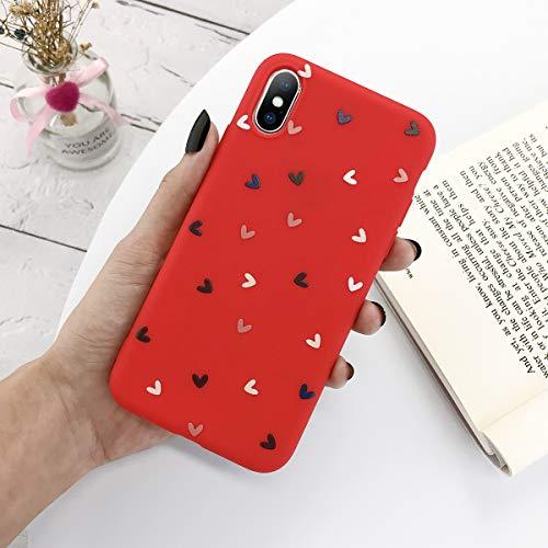 HUAI El Amor del Corazón de Silicona teléfono Caso del iPhone for el 11 Pro X XR XS MAX 7 8 6 5 6s 5s Plus SE 2020 Caramelo Soft Shell TPU (Color : Red, Material : For iPhoone 5 5s SE)