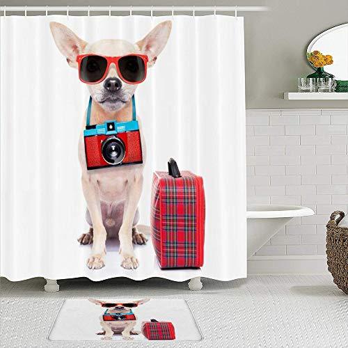 LISNIANY Conjunto De Ducha Cortina Alfombra,Sombras Chihuahua Perro Cámara Lista Viaje Equipaje Verano Deportes Recreación Guay Maleta,Uso en baño, Hotel