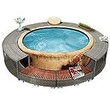vidaXL Whirlpool Umrandung mit Stauraum Rund Poolumrandung Poolverkleidung für Spa Grau Poly Rattan Stahlrahmen Eukalyptus-Hartholz