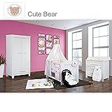 Babyzimmer Enni in weiss 10 tlg. mit 2 türigem Kl. + Textilien von Cute Bear in Rosa