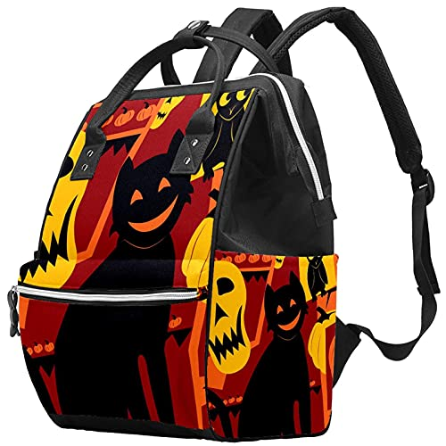 WJJSXKA Mochilas Bolsa de pañales Mochila para portátil Mochila de viaje Senderismo Mochila para mujeres Hombres - Gato de Halloween