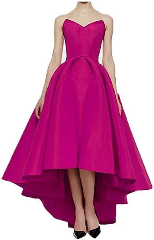 Honeydress Women's Elegant Off The Shoulder Sweetheart HighLow Ball Gown Satin Long Prom Dress